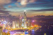 Hong Kong city Skyline from braemar hill at dusk
