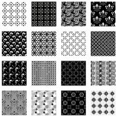 Collection of seamless backgrounds black and white