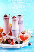 Delicious milkshakes, close-up