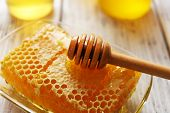 Honeycomb on wooden table