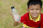 Bottle of water in hand