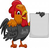 Mascot Illustration Featuring a Rooster Holding a Blank Poster