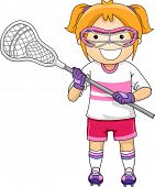 Illustration of a Girl Dressed in Lacrosse Gear