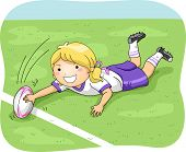 Illustration of a Female Rugby Player Scoring a Goal / Try