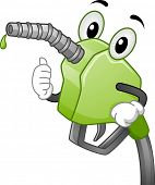Mascot Illustration Featuring a Gasoline Pump Handle Pumping Biofuel
