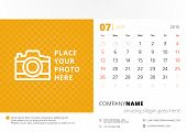 Desk Calendar 2015 Vector Template Week Starts Sunday