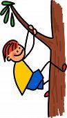 Happy Boy Climbing Tree