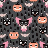 Seamless geometric halloween night pastel owl pumpkin and cat illustration background pattern in vec