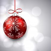 Silver christmas background with red colorful decorative ball. Vector illustration.
