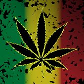 stock photo of rastafari  - Illustration of cannabis as a symbol on abstract background - JPG