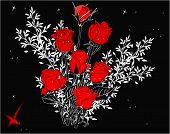 illustration with isolated red roses sketches