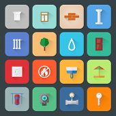 Construction Development and Architecture Flat Style Vector Icons with Long Shadow