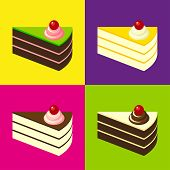 Delicious Cakes On Colorful Tiled Background. Pop-art Style.