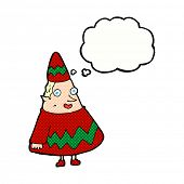 cartoon elf with thought bubble