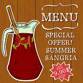 foto of sangria  - Doodle hand drawn jug of fresh home made sangria on turquoise wooden background - JPG