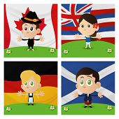 Set of four different happy multicultural boys and girls on flag backgrounds.