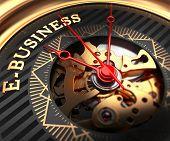 E-Business on Black-Golden Watch Face.