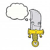 knife cartoon character with thought bubble