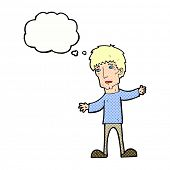 cartoon worried man with thought bubble