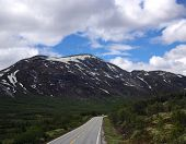 Scenic empty road in beautiful mountains of Norway