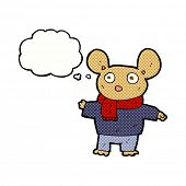 cartoon mouse in clothes with thought bubble