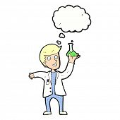 cartoon happy scientist with thought bubble