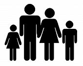 stock photo of nuclear family  - Black silhouette of traditional family with two children isolated on white background - JPG