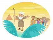 stock photo of bible story  - Cute cartoon of Moses splitting the red sea with the Israelite leaving Egypt - JPG