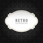 Vintage style white paper label design and ornament pattern vector background. Retro luxury frame badge premium quality design element.