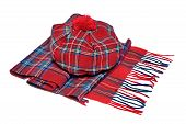 picture of headgear  - Traditional Scottish Red Tartan Bonnet and Scarf Men headgear and neckwear Isolated on white Background - JPG