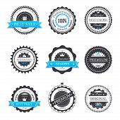 Premium quality, guarantee badges vector