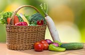 Variety Of Fresh Vegetables In Basket On Wood Table