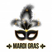 Black Mardi Gras carnival mask with feathers