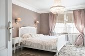 stock photo of romantic  - Ideal bedroom for woman in romantic style - JPG