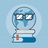 Earth With Eyeglasses Standing On Books