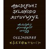 Retro vector brush script lettering font, handwritten calligraphic alphabet.