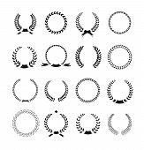 Set of black and white silhouette circular laurel  foliate  wheat