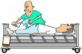 Therapist bending a patients knee