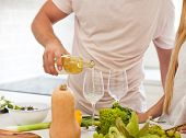 Couple Starting To Drink A White Wine At Home