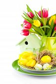 Easter Eggs With Tulips Flowers And Birdhouse