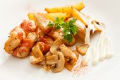 meat with mushrooms and potatoes