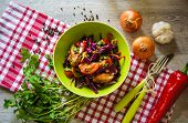 picture of roast chicken  - Roast chicken fillet and vegetable salad on the table - JPG
