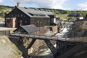 Exterior of the former copper smelter factory in Roros, Norway.