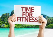 Time for Fitness card with a beach on background
