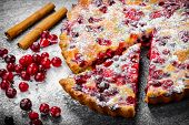 Closeup Cranberry pie on gray background