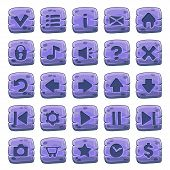 Set Of Stone Square Buttons, Vector Game Icons