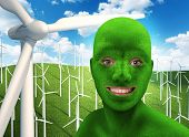 Green human's face smiling on nature