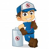 picture of pest control  - Cartoon illustration of a cute exterminator - JPG