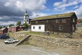 Traditional houses of the copper mines town of Roros, Norway.