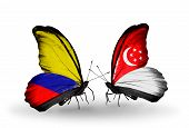 Two Butterflies With Flags On Wings As Symbol Of Relations Columbia And Singapore
